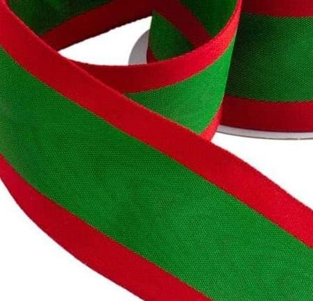 Ruban moire vert lisere rouge